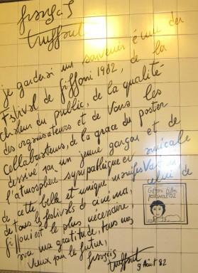 La dedica di François Truffaut al Festival di Giffoni, durante la sua visita nel 1982