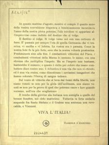 Volantino con testo D'Annunzio